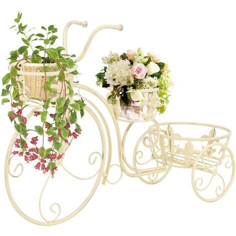 Soporte de plantas con forma de bicicleta metal estilo vintage - Blanco