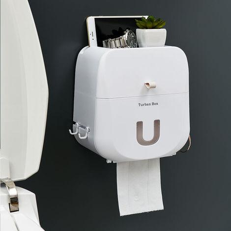 Soporte de toalla higiénico impermeable montado en la pared Caja de almacenamiento impermeable Dispensador de rollo de papel higiénico portátil BLANCO
