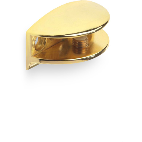 Soporte fijo para baldas de cristal con estilo funcional, fabricado en zamak y acabado en oro.
