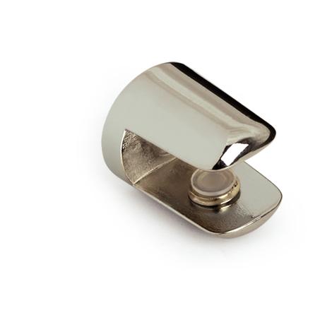 Soporte fijo para baldas de cristal de la serie GLASS S: con estilo funcional, fabricado en zamak y acabado en cromo brillo.
