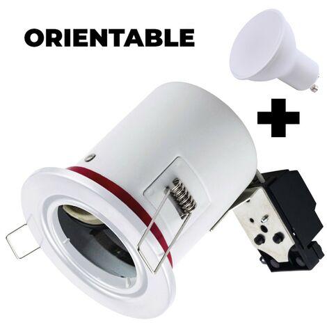 Soporte foco BBC orientable blanco + Bombilla GU10 7 W blanco cálido + Portalámparas
