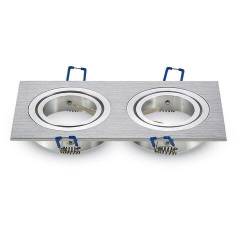 Soporte GU10 doble aluminio empotrado ajustable