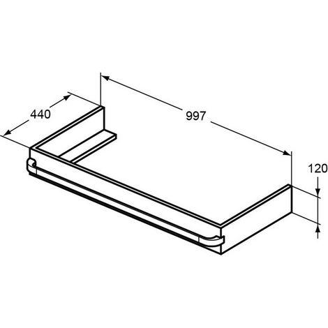 Soporte Ideal Standard TONIC II R4312, 997x440x120mm, color: Lacado blanco brillo intenso - R4312WG