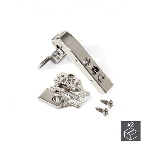 Emuca Bisagra de cazoleta, D. 35 mm, brazo angular 90º, cierre suave, suplementos Euro, 2 ud.