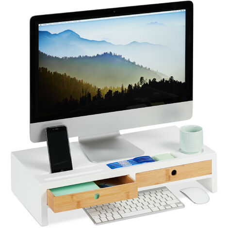 Soporte Monitor y Portátil con 2 Cajones para Escritorio, Bambú y DM, Blanco y Marrón, 12 x 55,5 x 27 cm