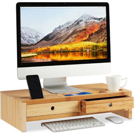 Soporte Monitor y Portátil con 2 Cajones y Compartimentos, Bambú, Marrón, 14 x 60 x 30 cm
