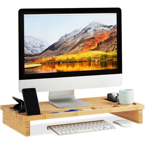 Soporte Monitor y Portátil con Compartimentos, Bambú, Marrón, 9 x 60 x 30 cm