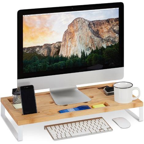 Soporte Monitor y Portátil para Escritorio, Madera de Bambú y Hierro, Blanco, 9 x 60 x 30 cm