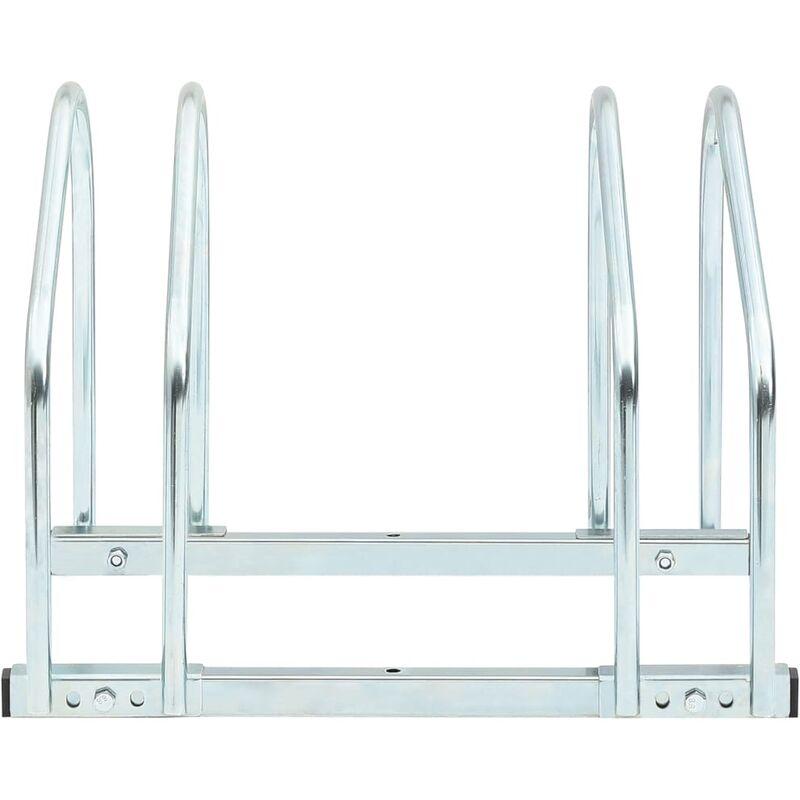 Goliraya Soporte para Aparcar 2 Bicicletas Aparcamiento para Bicicleta Acero 48x33x27 cm