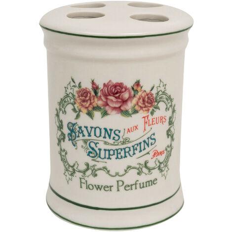 """Soporte para cepillos de dientes de porcelana blanca con adornos """"Savons Superfines"""" 8,5x8,5x11,5 cm"""