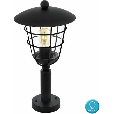 Soporte para lámpara de exterior Base para jaula, lámpara de jardín, linterna, negro en el conjunto, incluidas bombillas LED