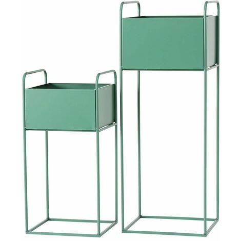 Soporte para macetas de interior Soporte para plantas Soporte para flores, rectangular verde, hierro, H 49/70 cm, juego de 2