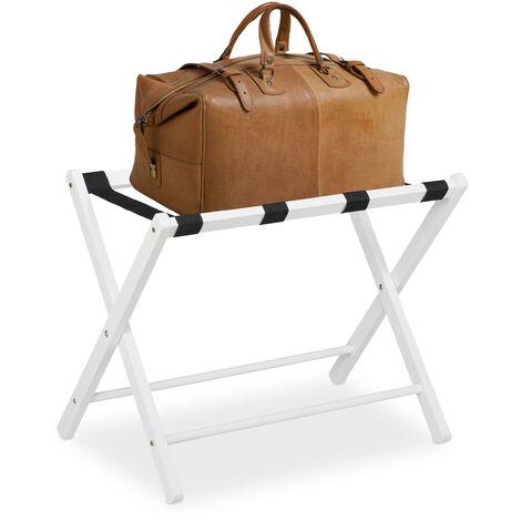 Soporte para maletas madera, Reposa maletas plegable, Porta equipajes, 54,5 x 66 x 44 cm, Color blanco