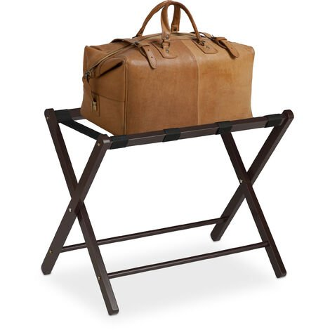 Soporte para maletas madera, Reposa maletas plegable, Porta equipajes, 54,5 x 66 x 44 cm, Color marrón