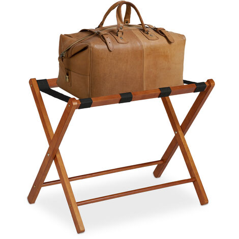 Soporte para maletas madera, Reposa maletas plegable, Porta equipajes, 54,5 x 66 x 44 cm, Color marrón natural