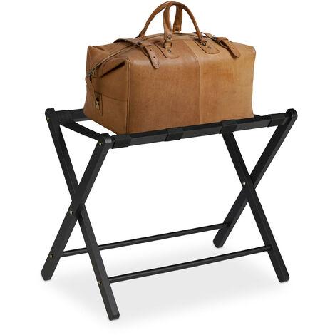Soporte para maletas madera, Reposa maletas plegable, Porta equipajes, 54,5 x 66 x 44 cm, Color negro