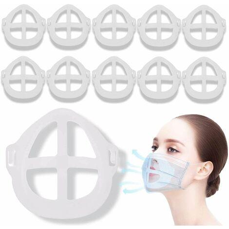 Soporte para mascarilla LITZEE [10 PCS], Soporte para mascarilla 3D - Reutilizable y lavable - Aumenta el espacio para respirar - Adecuado para nariz y boca - Soporte para mascarilla quirúrgica
