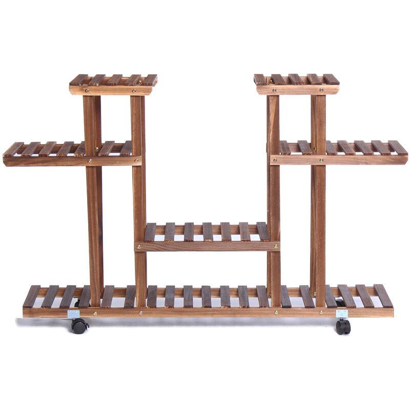 Soporte para plantas de madera de 4 niveles