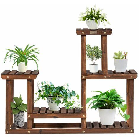 Soporte para Plantas de Madera de 4 Niveles Eestantería para Flores Estante Escalera de Macetas para Jardín Balcón Interior Exterior