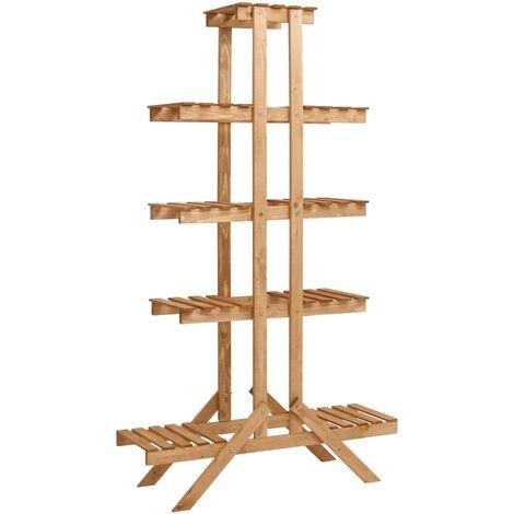 Soporte para plantas de madera de abeto 83x25x142 cm - Marrón