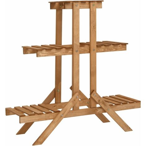 Soporte para plantas de madera de abeto 83x25x83 cm - Marrón