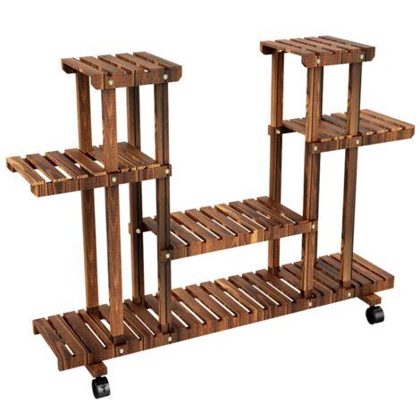 Soporte para plantas de madera de jardín de 4 niveles, soporte para macetas, soporte de exhibición para el hogar (marrón, sin ruedas)