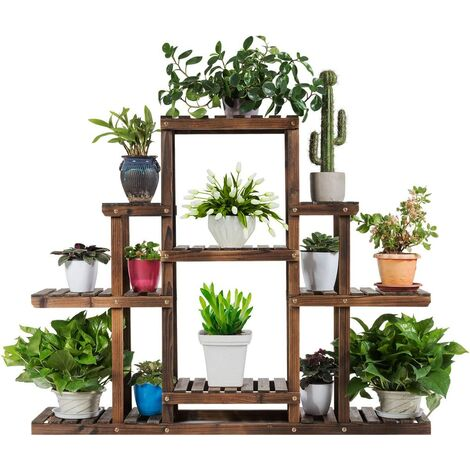 Soporte para Plantas de Madera Eestantería para Flores Estante Escalera de Macetas para Jardín Balcón Interior Exterior (6 Niveles)