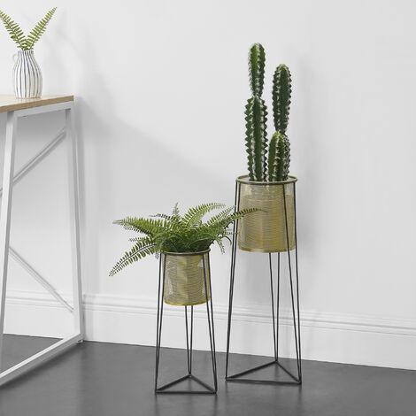 Soporte para plantas de metal - 2 piezas - 40 cm x 13 cm y 55,5 cm x 17 cm - Estantería para macetas - Bastidor para macetas - Color cobre amarillo y Negro