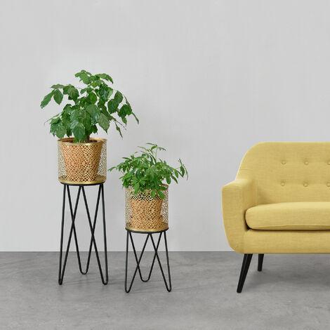 Soporte para plantas de metal - 2 piezas - 45 x 21 x 21 cm y 65 x 24 x 24 cm - Estantería para macetas - Bastidor para macetas - Patas Horquilla - Hairpinlegs - Negro y Color Dorado