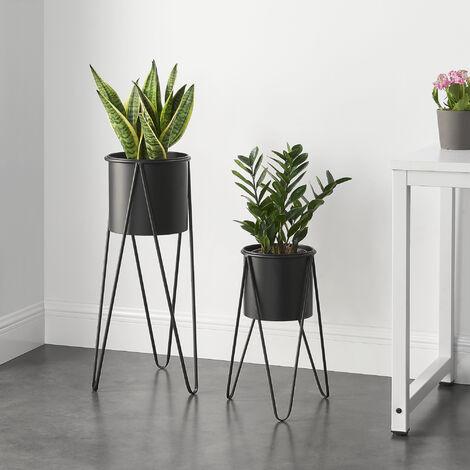 Soporte para plantas de metal - 2 piezas - 48 x 25 x 25 cm y 70,5 x 32 x 32 cm - Estantería para macetas - Bastidor para macetas - Negro