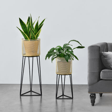 Soporte para plantas de metal - 2 piezas - 50 x 21 x 18 cm y 70 x 27 x 24 cm - Estantería para macetas - Bastidor para macetas - Negro y Color Dorado