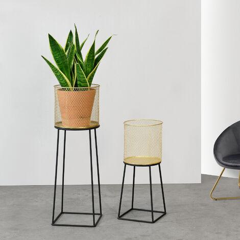 Soporte para plantas de metal - 2 piezas - 50 x 21 x 21 cm y 70 x 24 x 24 - Estantería para macetas - Bastidor para macetas - Negro y Color Dorado