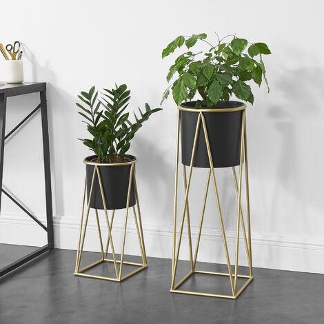 Soporte para plantas de metal - 2 piezas - 70 cm x 25 cm y 46,5 cm x 21,5 cm - Estantería para macetas - Bastidor para macetas - Negro y Color cobre amarillo