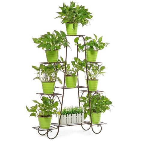Soporte para plantas de metal multicapa Estante para macetas Jardín Interior Interior Exterior (Café, colores aleatorios)
