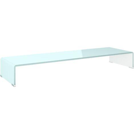 Soporte para TV/Elevador monitor cristal blanco 100x30x13 cm