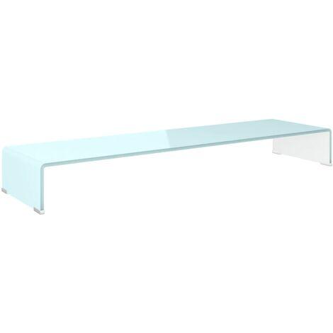 Soporte para TV/Elevador monitor cristal blanco 110x30x13 cm
