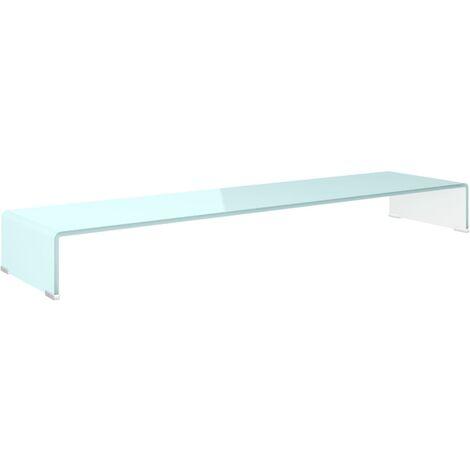 Soporte para TV/Elevador monitor cristal blanco 120x30x13 cm