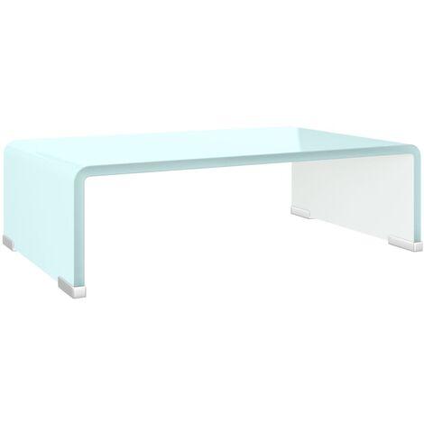 Soporte para TV/Elevador monitor cristal blanco 40x25x11 cm