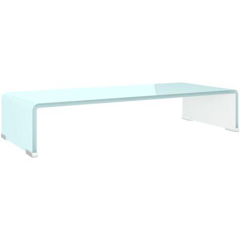 Soporte para TV/Elevador monitor cristal blanco 60x25x11 cm