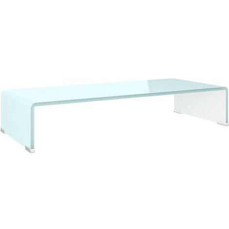 Soporte para TV/Elevador monitor cristal blanco 70x30x13 cm