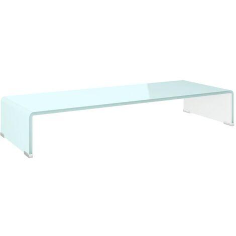 Soporte para TV/Elevador monitor cristal blanco 80x30x13 cm