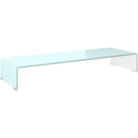 Soporte para TV/Elevador monitor cristal blanco 90x30x13 cm