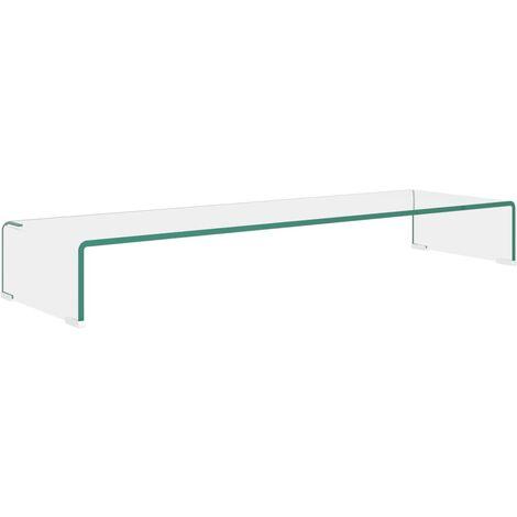 Soporte para TV/Elevador monitor cristal claro 100x30x13 cm