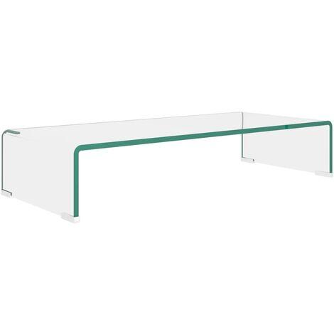 Soporte para TV/Elevador monitor cristal claro 70x30x13 cm
