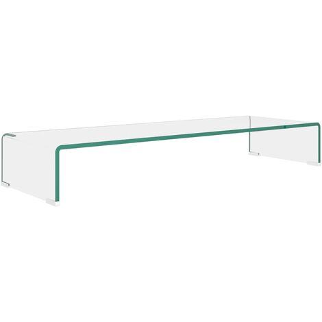 Soporte para TV/Elevador monitor cristal claro 90x30x13 cm