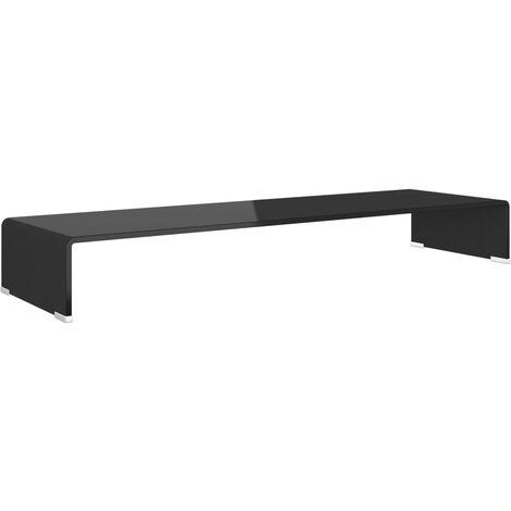 Soporte para TV/Elevador monitor cristal negro 100x30x13 cm