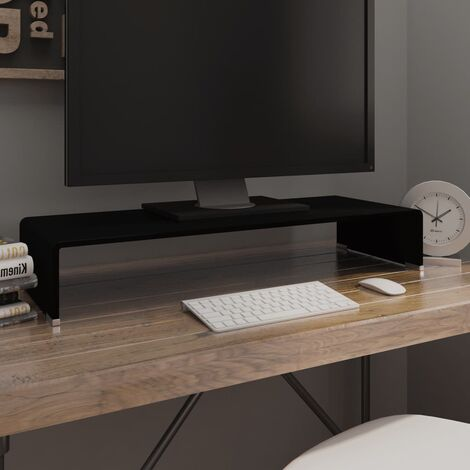 Soporte para TV/Elevador monitor cristal negro 80x30x13 cm