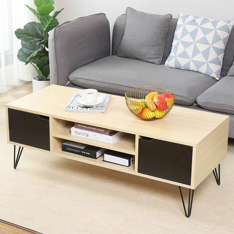 Soporte para TV moderno / Mesa de centro para TV / Soporte para TV con 2 cajones 113 x 45 x 40 cm (color madera)