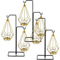 Soporte para vela de té - Diseño - 29 x 11 x 36,5 cm - Set de 3 unidades - Farol de metal - Color cobre