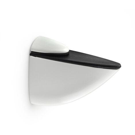 Soporte pelícano regulable para baldas de cristal y madera PELICANO XL: con estilo decorativo, fabricado en zamak y acabado en blanco mate.